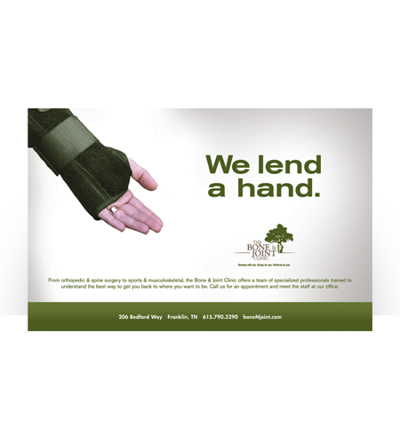 Bone & Joint Clinic-We Lend A Hand Ad